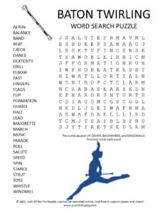 Baton Twirling Word Search Puzzle