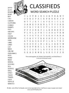 Classifieds Word Search Puzzle