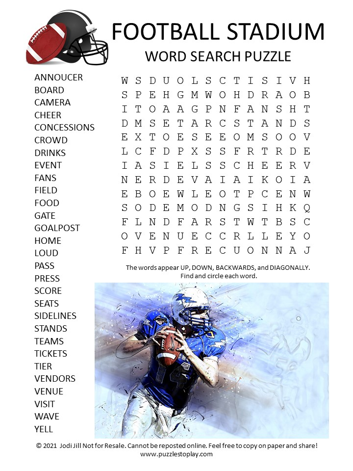 Football Stadium Word Search Puzzle