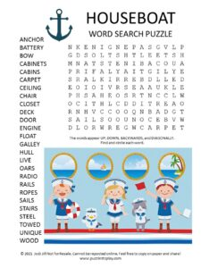 Houseboat Word Search Puzzle