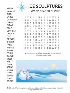 Ice Sculpture Word Search Puzzle