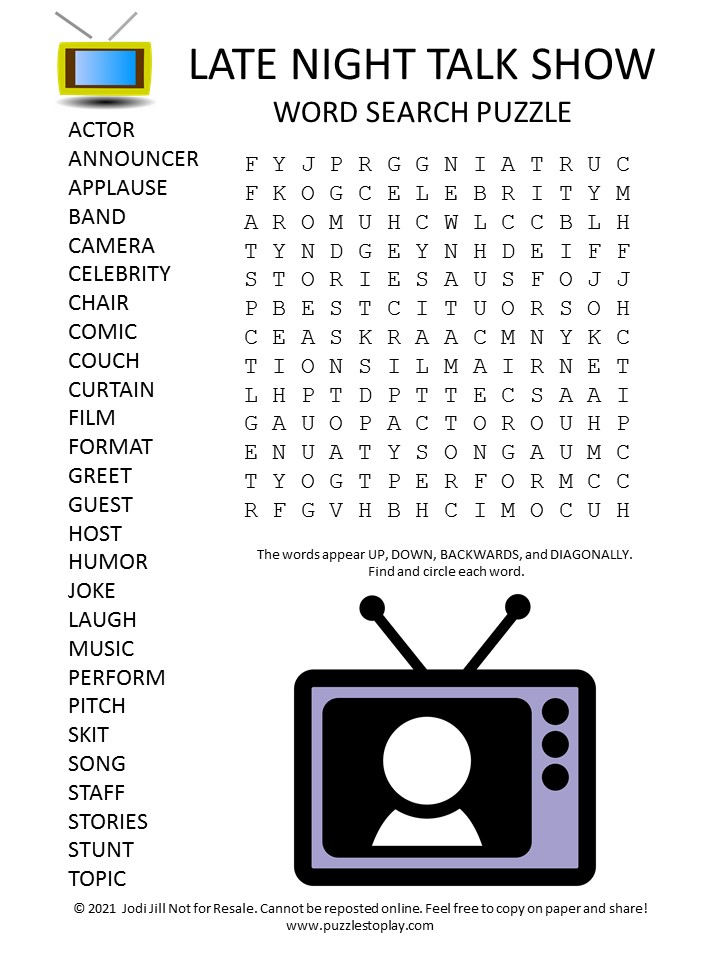 Late Night Talk Show Word Search Puzzle