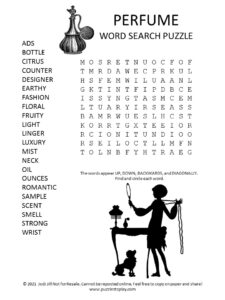Perfume Word Search Puzzle