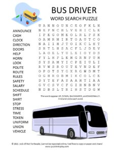 bus driver word search puzzle