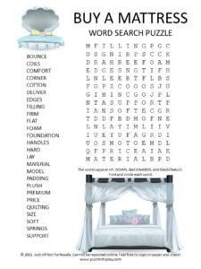 buy mattress word search puzzle