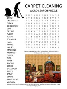 carpet cleaning word search puzzle