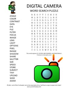 digital camera word search puzzle