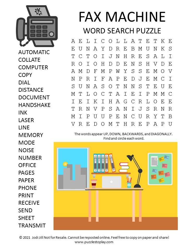 fax machine word search puzzle