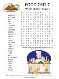 food critic word search puzzle
