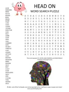 head on word search puzzle