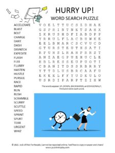 hurry word search puzzle