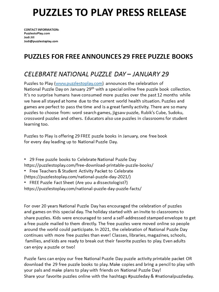 national puzzle day press release