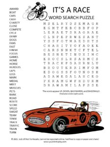race word search puzzle