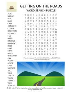 Traffic word search puzzle