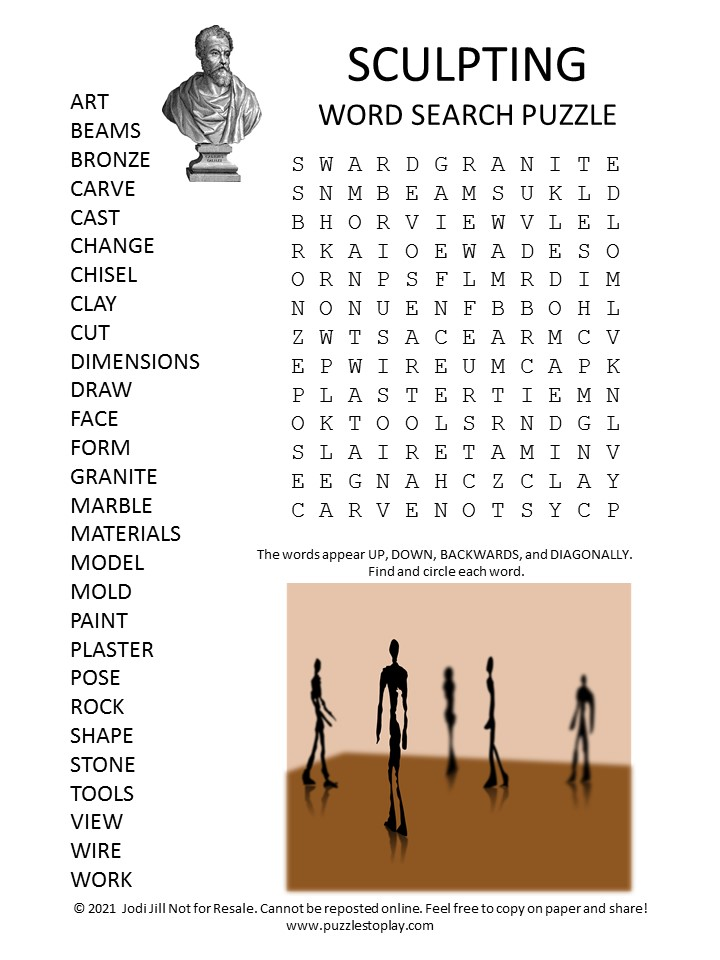 sculpting word search puzzle