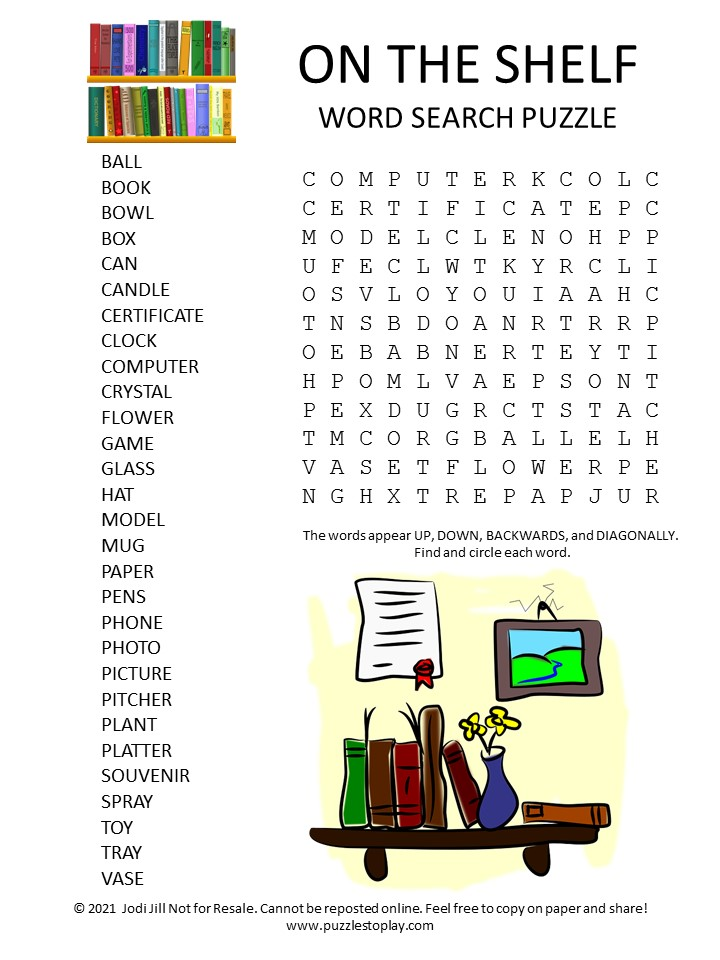 shelf word search puzzle