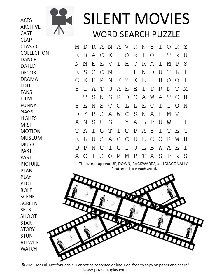 silent movies word search puzzle