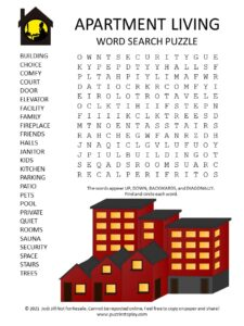Apartment Living Word Search Puzzle