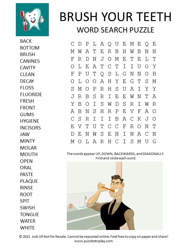 Brush Your Teeth Word Search Puzzle
