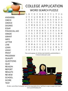 College Application Word Search Puzzle