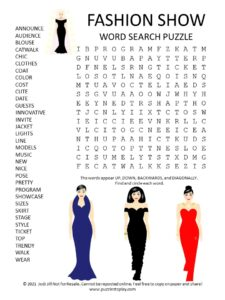 Fashion Show Word Search Puzzle