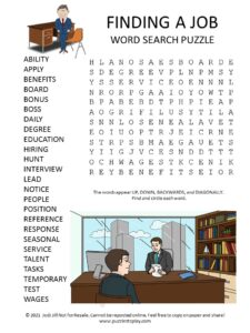 Finding a Job Word Search Puzzle