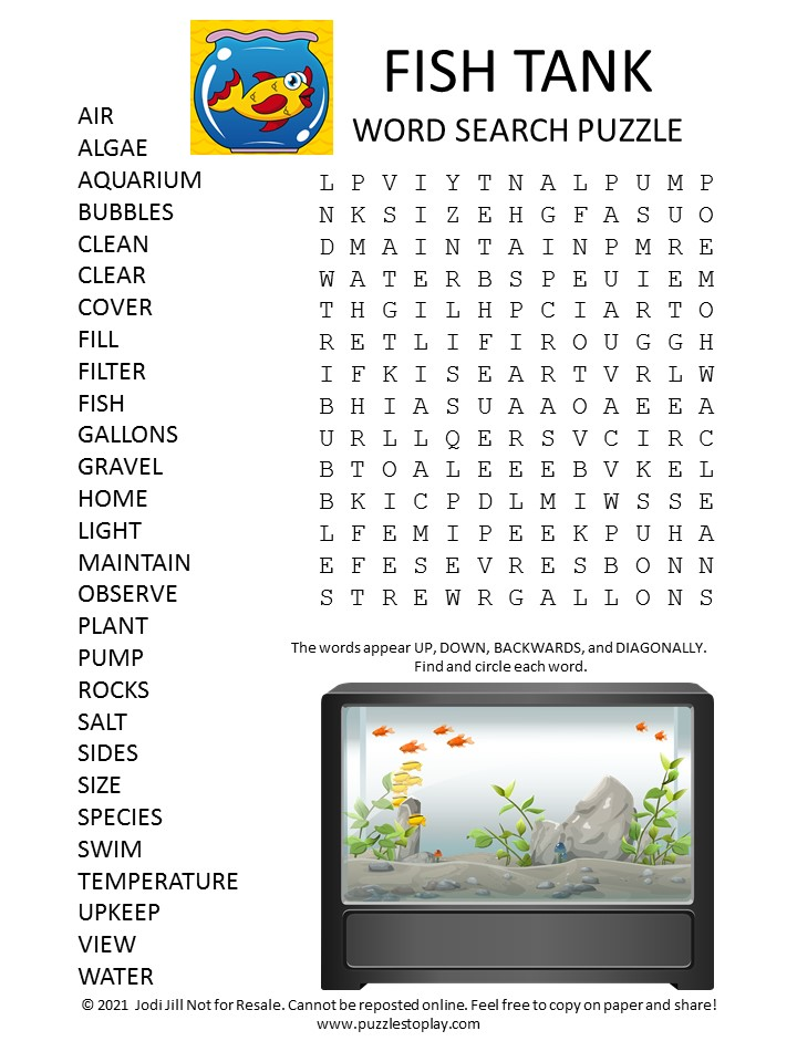 Fish Tank Word Search Puzzle