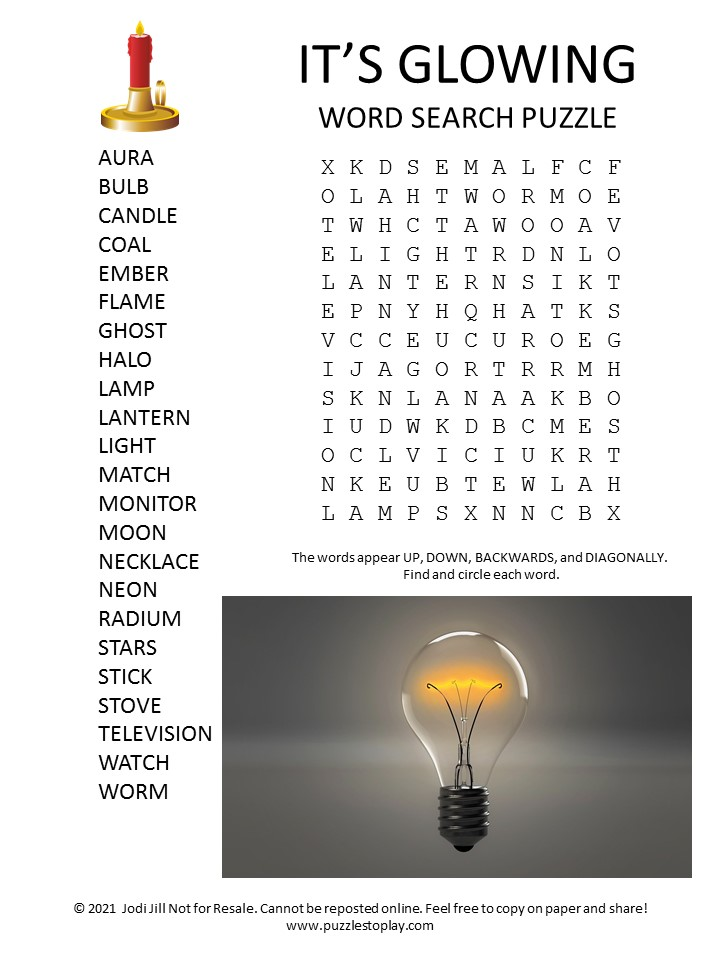 Glowing Word Search Puzzle