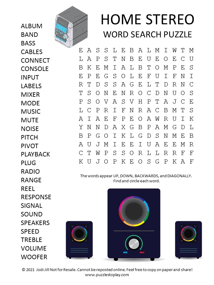 Home Stereo Word Search Puzzle