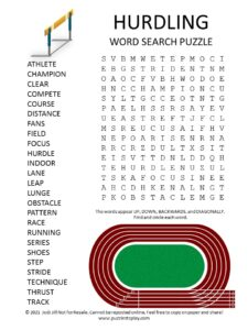 Hurdling Word Search Puzzle