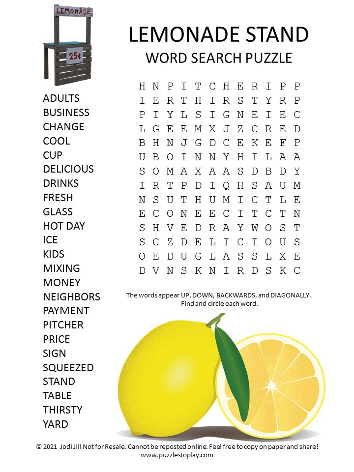 Lemonade stand Word Search Puzzle