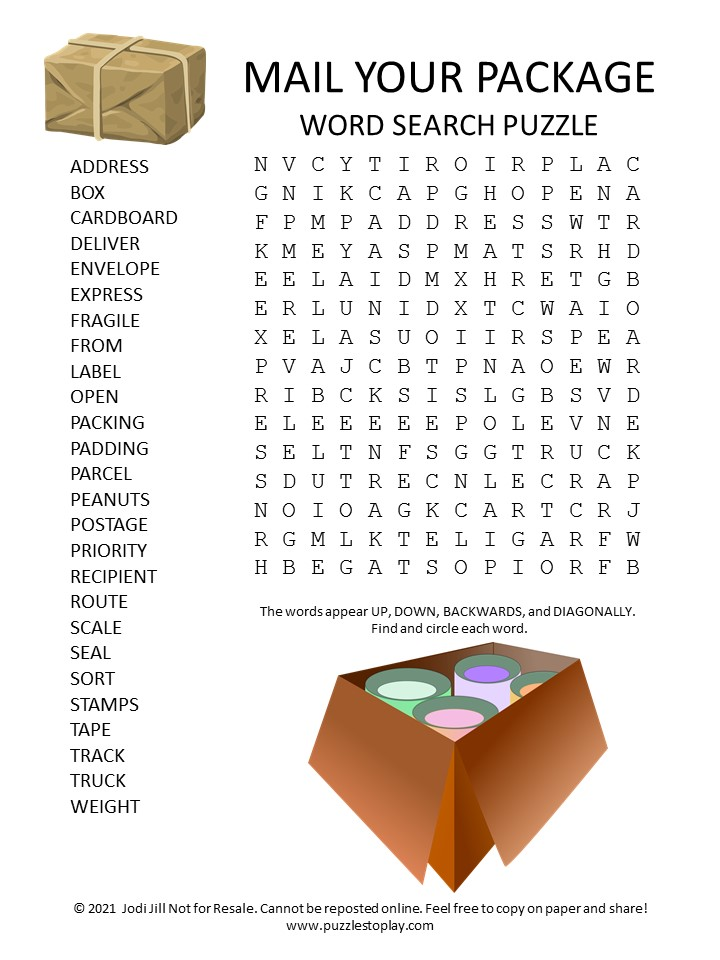 Mail Your Package Word Search Puzzle