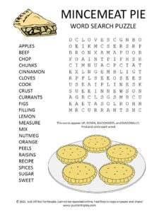 Mincemeat Pie Ingredients Word Search Puzzle