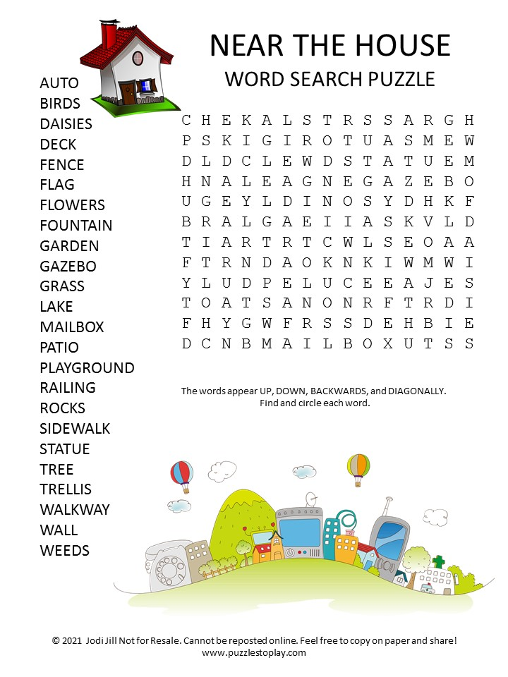 Near the House Word Search Puzzle