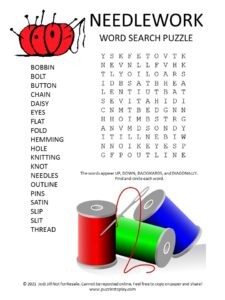Needlework Word Search Puzzle