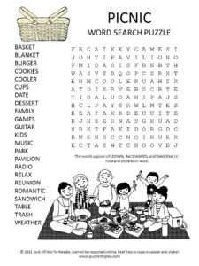 Picnic Word Search Puzzle