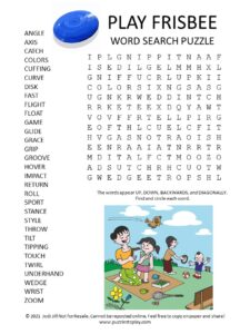 Play Frisbee Word Search Puzzle