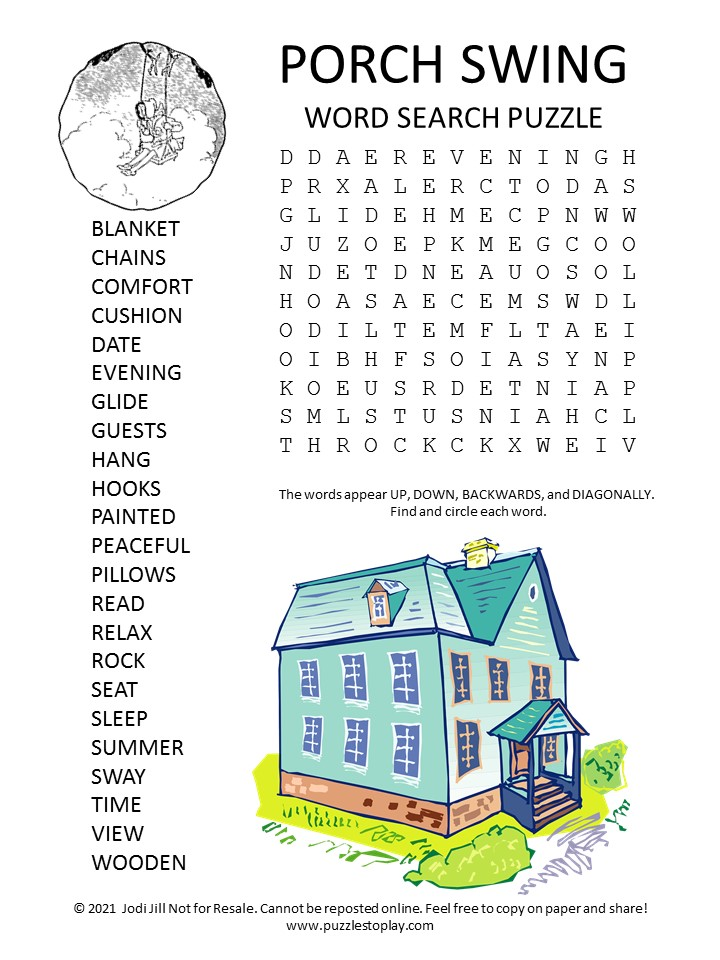Porch Swing Word Search Puzzle