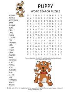 Puppy Word Search Puzzle