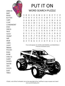 Put it On Word Search Puzzle