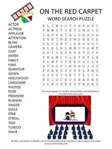 Red Carpet Word Search Puzzle