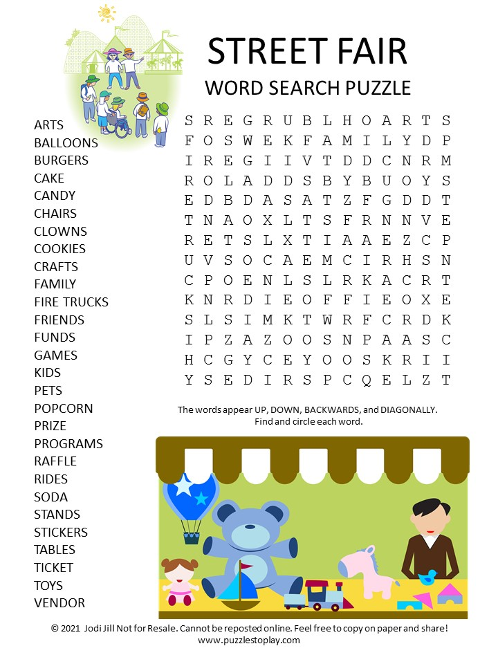 Street Fair Word Search Puzzle
