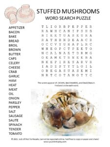 Stuffed Mushrooms Word Search Puzzle