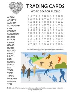 Trading Cards Word Search Puzzle