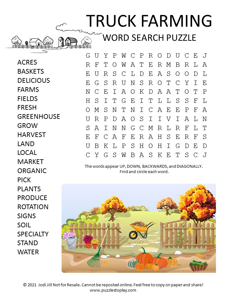 Truck Farming Word Search Puzzle