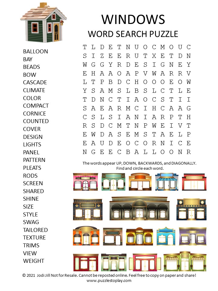 All Windows Word Search Puzzle