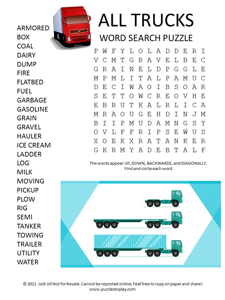 All trucks Word Search Puzzle