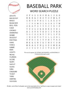 Baseball Park Word Search Puzzle