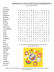 Breakfast Charcuterie Board Ingredients Word Search Puzzle
