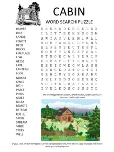 Cabin Word Search Puzzle